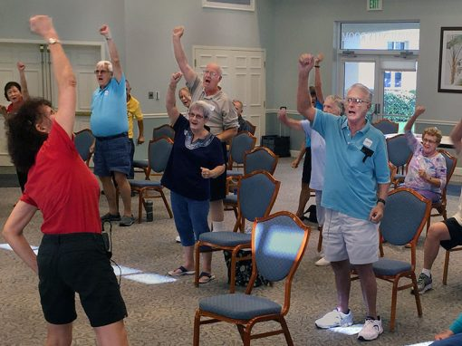 Voice Aerobics Class participating in Voice strengthening exercises for thos affected by Parkinson's Disease with medical speech-language pathologistmedical speech-language pathologistmedical speech-language pathologist medical speech-language pathologist