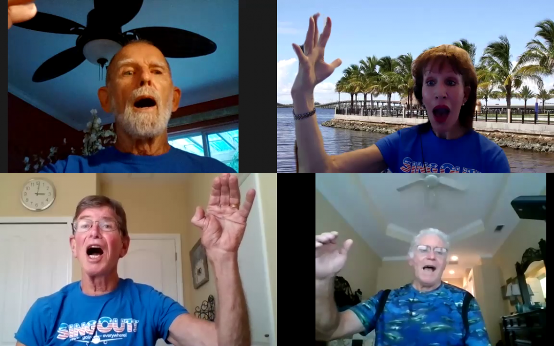 Screenshot of a LOUD Crowd virtual voice strengthening class for those with parkinsons