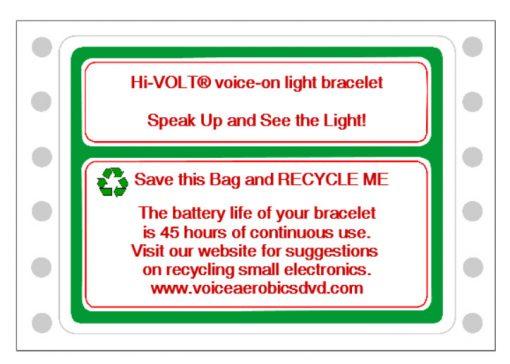 Sample label for recycling your Hi-VOLT® Bracelet