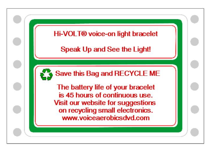 Sample lable for recycling your Hi-VOLT® Bracelet